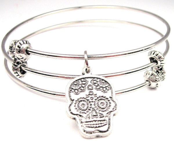 Sugar Skull Triple Style Expandable Bangle Bracelet