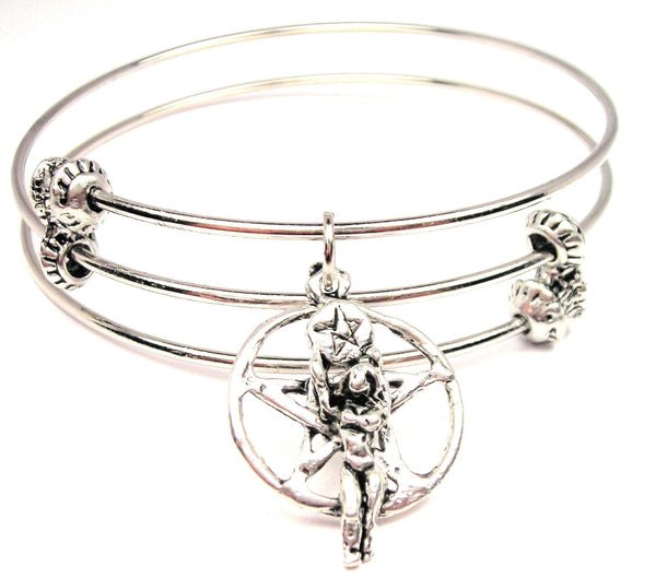 Pentacle With Goddess Triple Style Expandable Bangle Bracelet
