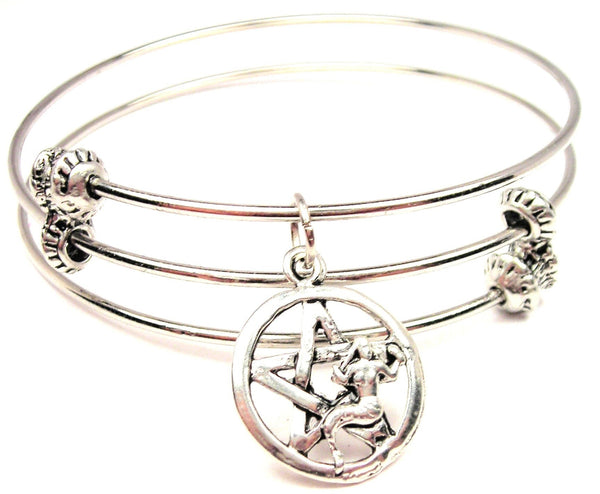 Pentacle With Mermaid Triple Style Expandable Bangle Bracelet
