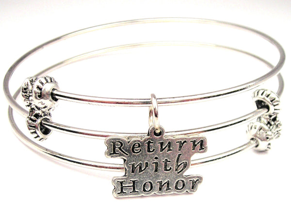 Return With Honor Triple Style Expandable Bangle Bracelet