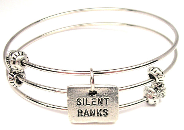 Silent Ranks Triple Style Expandable Bangle Bracelet