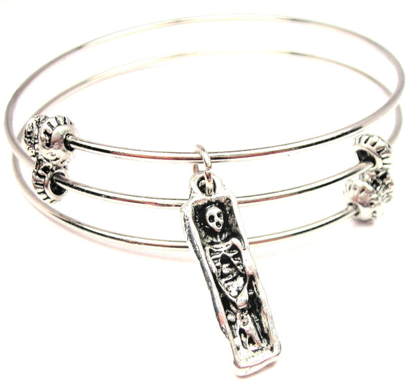 Skeleton In Coffin Triple Style Expandable Bangle Bracelet