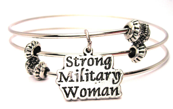 Strong Military Woman Triple Style Expandable Bangle Bracelet