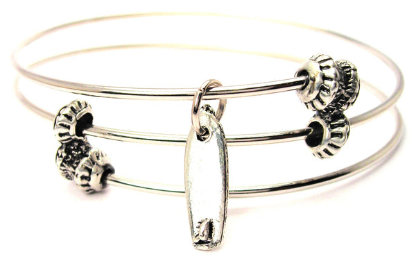 Surf Board Triple Style Expandable Bangle Bracelet