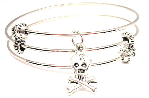 Traditional Skull And Crossbones Triple Style Expandable Bangle Bracelet