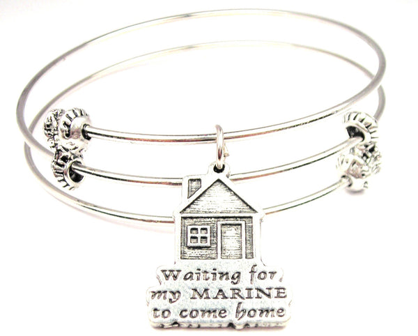 Waiting For My Marine To Come Home Triple Style Expandable Bangle Bracelet