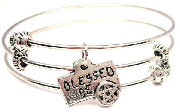 Blessed Be Triple Style Expandable Bangle Bracelet