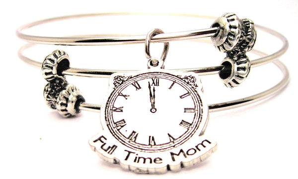 Full Time Mom Triple Style Expandable Bangle Bracelet