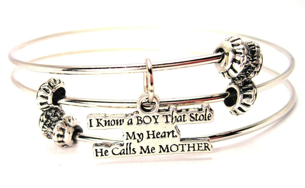 I Know A Boy That Stole My Heart He Calls Me Mother Triple Style Expandable Bangle Bracelet