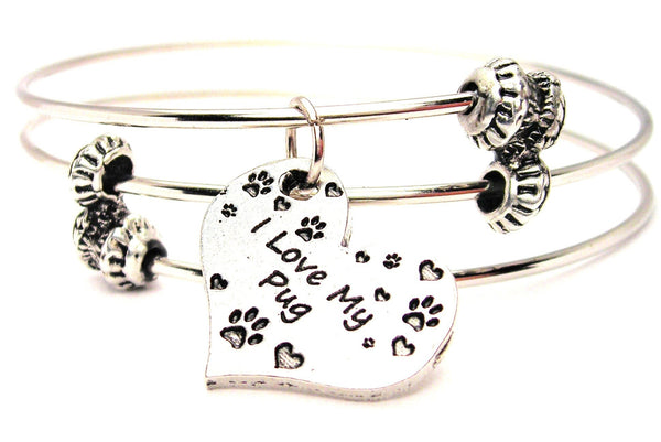 pug bracelet, pug jewelry, animal rescue jewelry, animal adoption jewelry, dog lover bracelet, dog lover jewelry