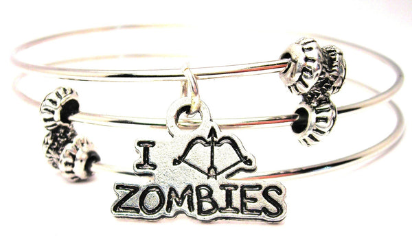 I Shoot Zombies Bow And Arrow Style Triple Style Expandable Bangle Bracelet