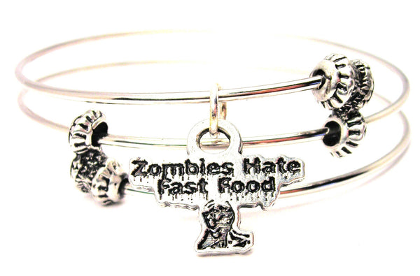 Zombies Hate Fast Food Triple Style Expandable Bangle Bracelet