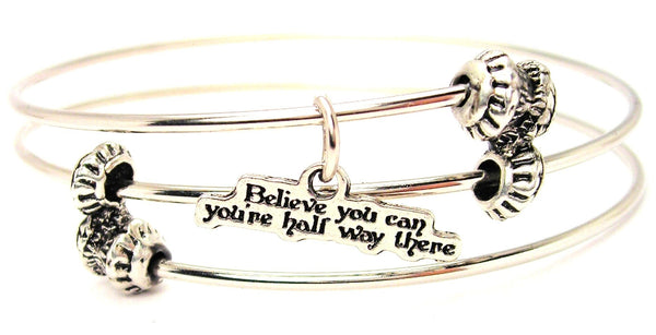 Believe You Can You're Half Way There Triple Style Expandable Bangle Bracelet