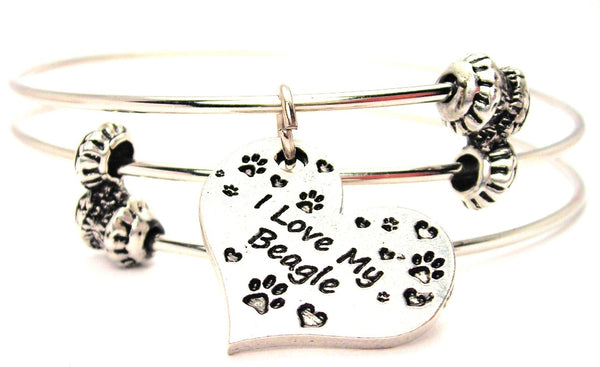 I Love My Beagle Heart Triple Style Expandable Bangle Bracelet