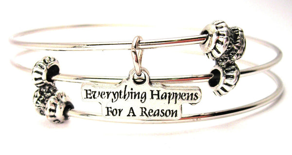 Everything Happens For A Reason Triple Style Expandable Bangle Bracelet