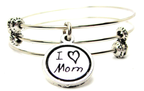 I Love Mom In Child Handwriting Triple Style Expandable Bangle Bracelet