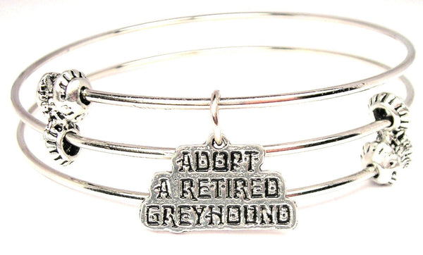 Adopt A Retired Greyhound Triple Style Expandable Bangle Bracelet