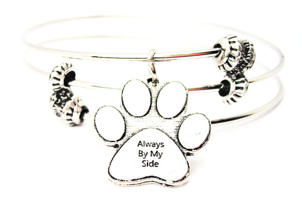 Always By My Side Paw Print Triple Style Expandable Bangle Bracelet