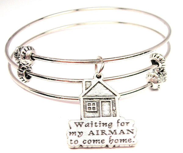 Waiting For My Airman To Come Home Triple Style Expandable Bangle Bracelet