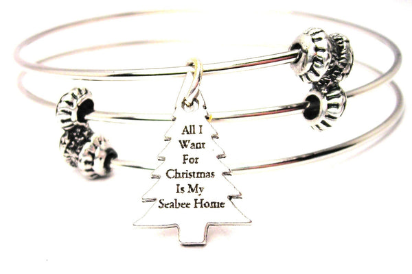 All I Want For Christmas Is My Seabee Home Triple Style Expandable Bangle Bracelet