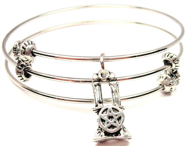 Candles With Pentacle Triple Style Expandable Bangle Bracelet