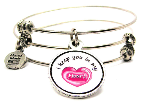 Hand Painted Pink I Keep You In My Heart Triple Style Expandable Bangle Bracelet