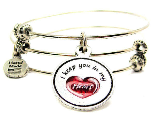 Hand Painted Red I Keep You In My Heart Triple Style Expandable Bangle Bracelet