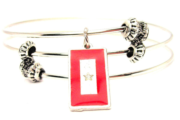 Hand Painted Silver Star Mother Flag Triple Style Expandable Bangle Bracelet