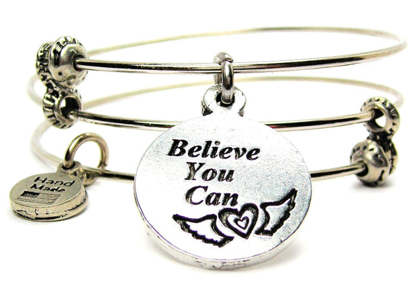 Believe You Can Circle Triple Style Expandable Bangle Bracelet