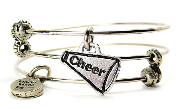 Cheer Horn Megaphone Triple Style Expandable Bangle Bracelet
