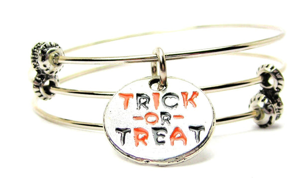 Hand Painted Trick Or Treat Circle Triple Style Expandable Bangle Bracelet