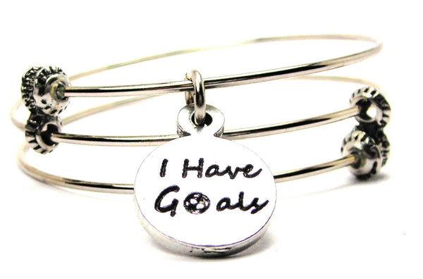 I Have Goals Triple Style Expandable Bangle Bracelet