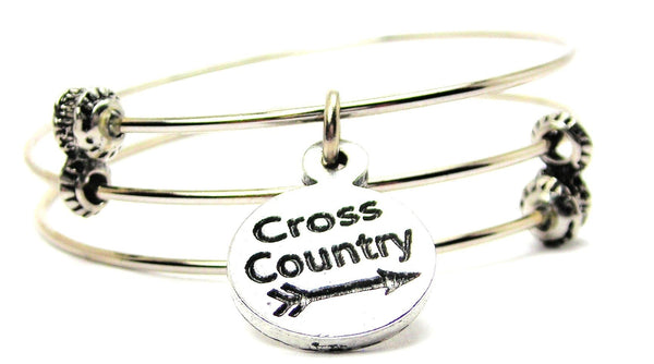 Cross Country Triple Style Expandable Bangle Bracelet