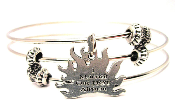 I Married One Hot Airman Triple Style Expandable Bangle Bracelet