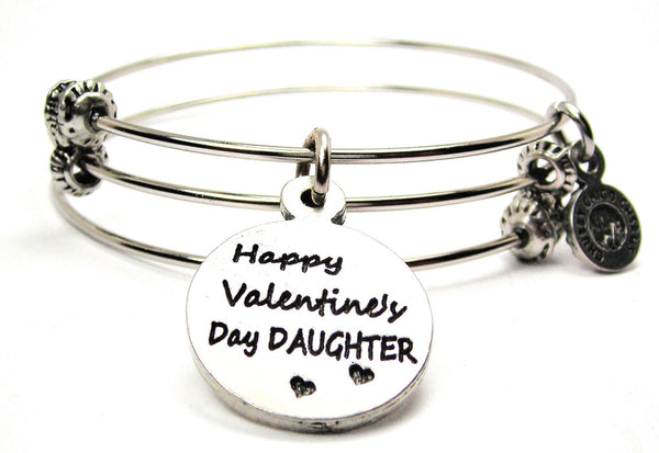 Happy Valentines Day Daughter Triple Style Expandable Bangle Bracelet
