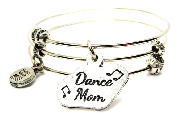 Dance Mom With Music Notes Triple Style Expandable Bangle Bracelet