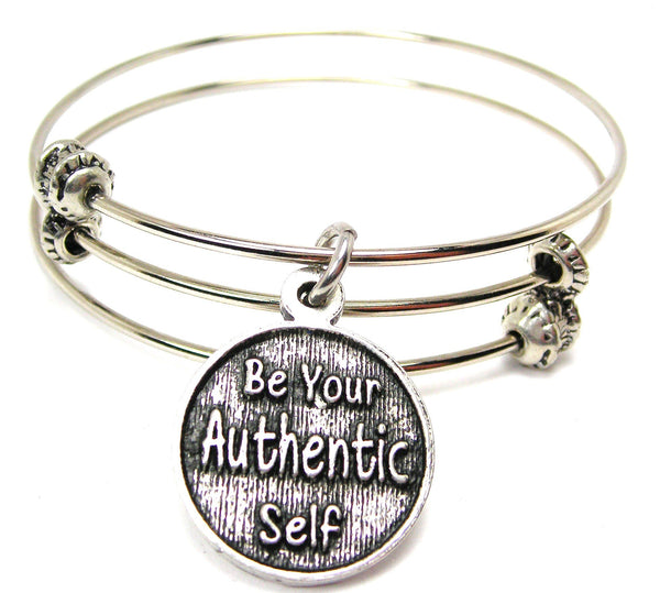 Be Your Authentic Self Triple Style Expandable Bangle Bracelet