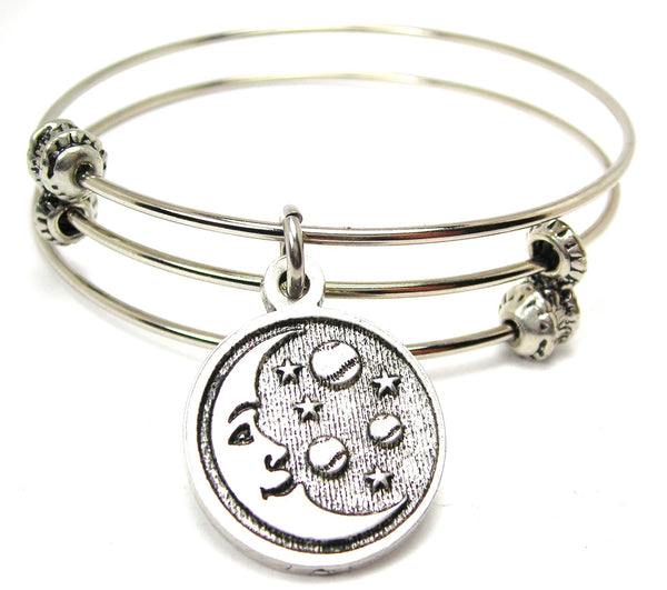 Baseball Moon And Stars Triple Style Expandable Bangle Bracelet