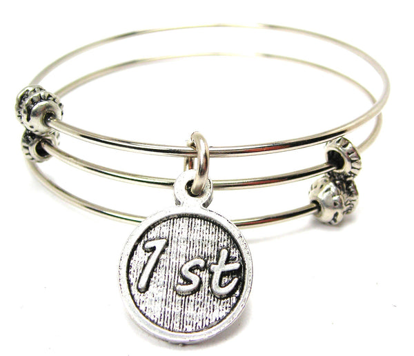 First Base Triple Style Expandable Bangle Bracelet