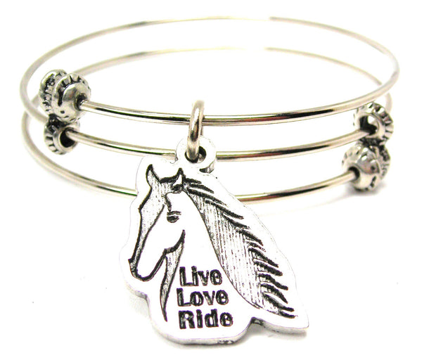 Live Love Ride Triple Style Expandable Bangle Bracelet
