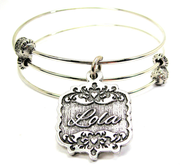 Lola Victorian Scroll Triple Style Expandable Bangle Bracelet