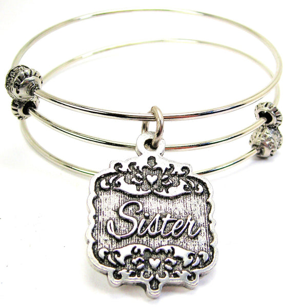 Sister Victorian Scroll Triple Style Expandable Bangle Bracelet