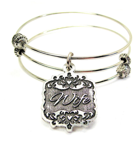 Wife Victorian Scroll Triple Style Expandable Bangle Bracelet