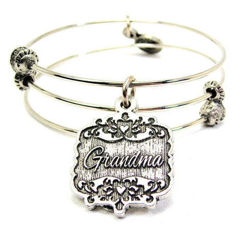 Great Aunt Victorian Scroll Triple Style Expandable Bangle Bracelet