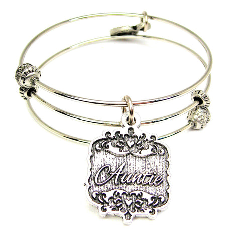 Auntie Victorian Scroll Triple Style Expandable Bangle Bracelet