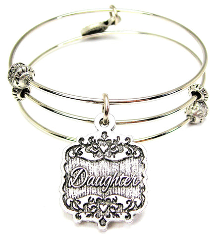 Daughter Victorian Scroll Triple Style Expandable Bangle Bracelet