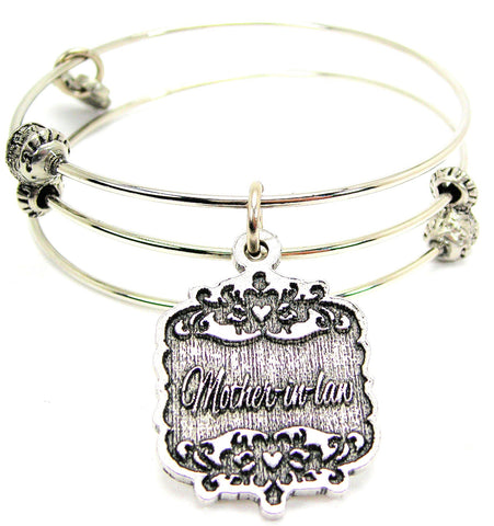 Mother-In-Law Victorian Scroll Triple Style Expandable Bangle Bracelet