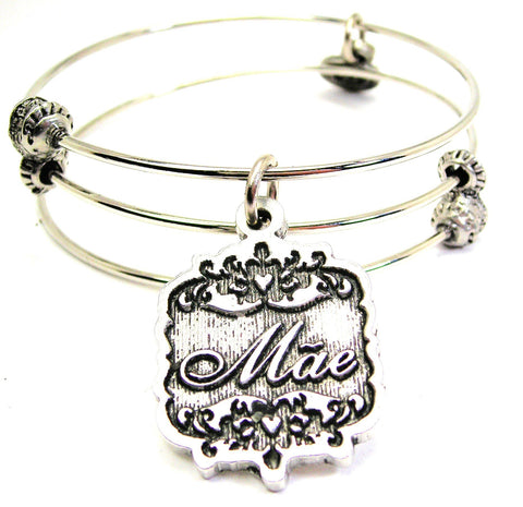 Mae Victorian Scroll Triple Style Expandable Bangle Bracelet
