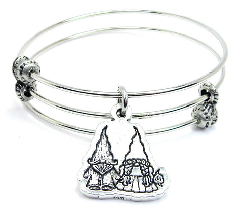 Yard Gnomes In Love Triple Style Expandable Bangle Bracelet