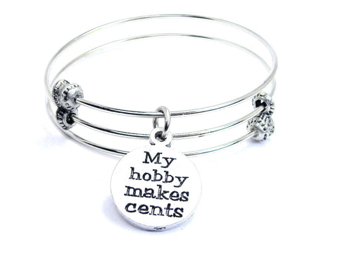 My Hobby Makes Cents Triple Style Expandable Bangle Bracelet